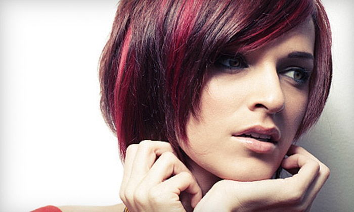 Salon Amore - Fridley: Haircut and Style Packages with All-Over Color or Two-Color Highlights at Salon Amore (Half Off)