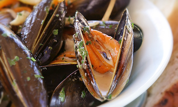 Dildo Dory Grill - Dildo: $10 for Mussels or Seafood Chowder with a Glass of Wine at Dildo Dory Grill (up to a $21 value)