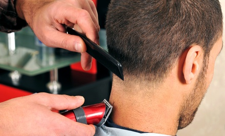 Haircut with Scalp Massage and Neck Shave at Golden Razor Barber Shop (Up to 54% Off). Three Options Available.
