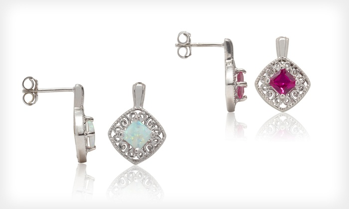 Lab-Created Gemstone Earrings: $24.99 for Lab-Created Opal, Ruby, Sapphire, or White Sapphire Earrings ($120 List Price). Free Shipping and Returns.