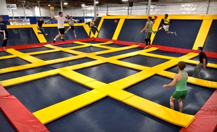 Trampoline Jump Time, Trampoline Dodge-Ball Court Rental, or AIRobics Classes at Sky High Sports (Up to 52% Off)
