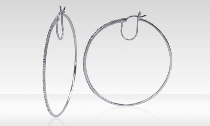 Diamond Hoop Earrings in Sterling Silver: Diamond Hoop Earrings in Sterling Silver. Free Returns.
