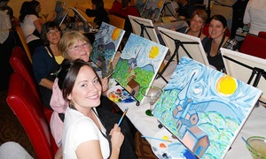 Wine and Canvas - Fort Lauderdale/Palm Beach: Painting Class for 1 or 2, or Private Party for Up to 15 at Wine and Canvas Ft Lauderdale/Palm Beach (Up to 46% Off)