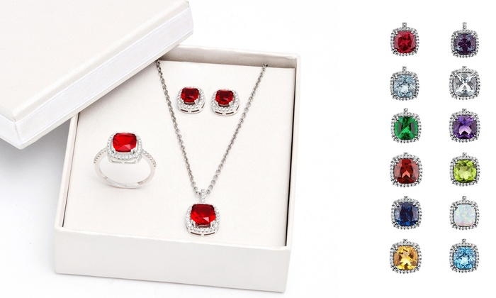 Cubic Zirconia 3-Piece Birthstone Jewelry Boxed Set: Cubic Zirconia 3-Piece Birthstone Pendant, Earrings, and Ring Boxed Set