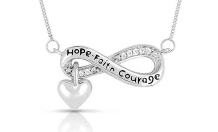 City of Hope Diamond Infinity Pendant in Sterling Silver