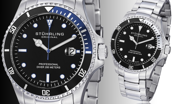 Stührling Original Men's Divers Watch: Stührling Original Men's Professional Divers Watch in Black/Silver or Blue/Black. Free Shipping and Returns.