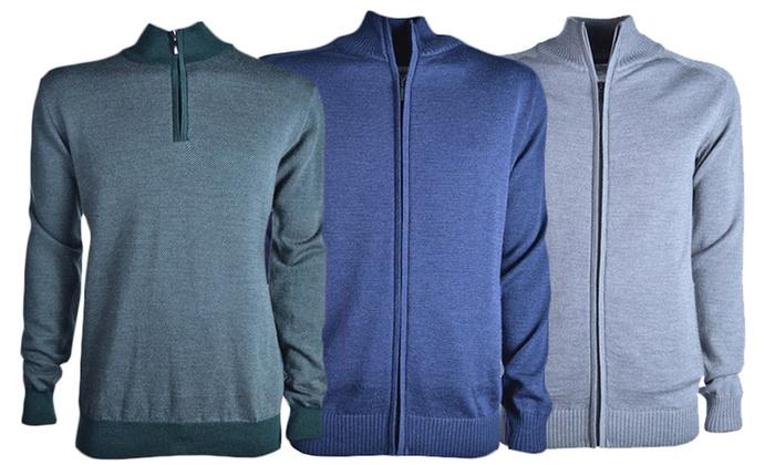 Luigi Baldo Merino Wool Zip Men's Sweaters: Luigi Baldo Merino Wool Zip Men's Sweaters. Multiple Styles Available. Free Returns.