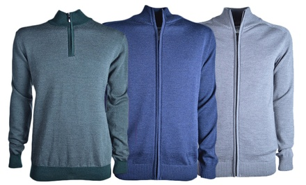 Luigi Baldo Merino Wool Zip Men's Sweaters. Multiple Styles Available. Free Returns.