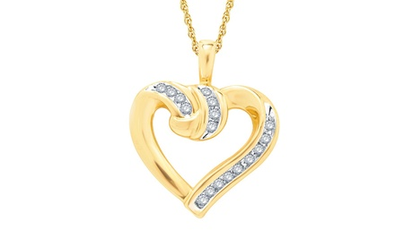 1/10 CTTW Knotted Heart Diamond Pendant with 10K Gold Rope Chain
