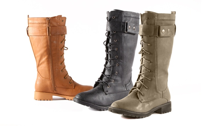 Carrini Mid-Shaft Combat Boots: Carrini Mid-Shaft Combat Boots. Multiple Colors Available. Free Shipping and Returns.