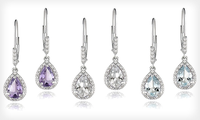 Sterling-Silver Diamond-and-Gemstone Earrings: $20 for Diamond-and-Gemstone Earrings with Amethyst or Blue or White Topaz ($75 List Price). Free Shipping and Returns.