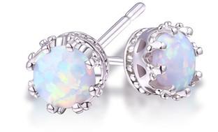 2.00 CTW Genuine Opal Crown Stud Earrings