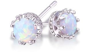 2.00 CTW Genuine Opal Crown Stud Earrings    at 2.00 CTW Genuine Opal Crown Stud Earrings, plus 9.0% Cash Back from Ebates.