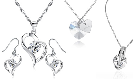 HeartShaped Jewellery with Crystals from Swarovski®: Pendant or Pendant and Earrings Set