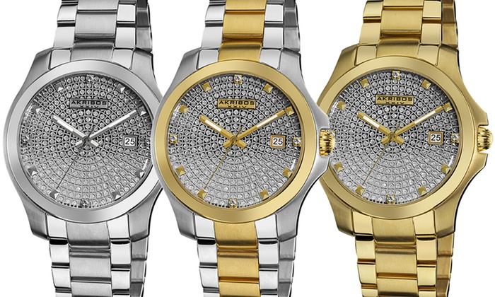 Men's Akribos XXIV Pavé Crystal Dial Watch: Men's Akribos XXIV Pavé Crystal Dial Watch. Multiple Styles Available. Free Returns.