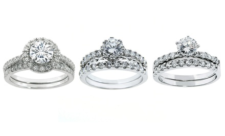 2-Piece Cubic Zirconia Ring Set in Sterling Silver