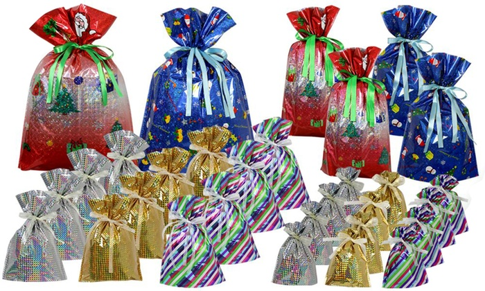 30 Or 60 Piece Christmas Drawstring Gift Bag Set From 11 99 Up To 58 Off