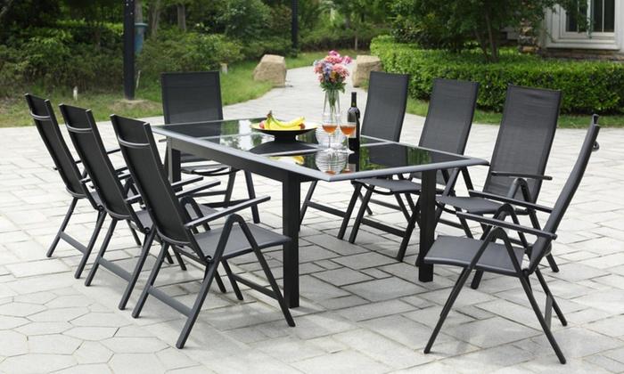 jusqu\'à 39% Table extensible alu avec chaises | Groupon