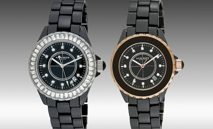 Akribos XXIV Women's Ceramic Interchangeable Bezel Watches: Akribos XXIV Women's Ceramic Interchangeable Bezel Watch in Black or Black and Rose