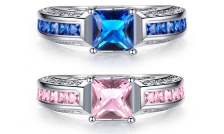 2.5Ct Sapphire Princess Cut Rhodium-Plated Ring Sets from AED 99 With Free Delivery (Up to 93% Off)
