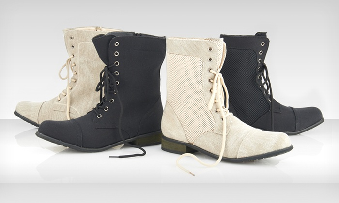 Carrini Canvas Combat Boots: $29.99 for Carrini Combat Boots ($75 List Price). Multiple Styles and Colors Available. Free Shipping and Returns.
