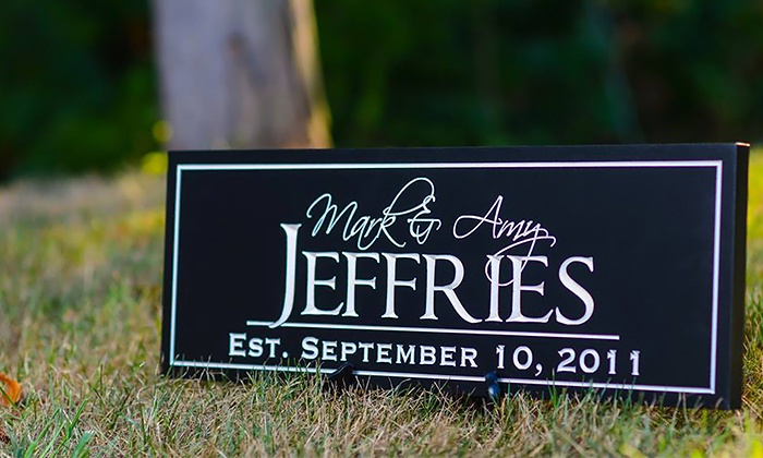"MRC Wood Products: 6""x16"", 7""x20"", or 8""x24"" Carved Family-Name Sign from MRC Wood Products (Up to 33% Off)"