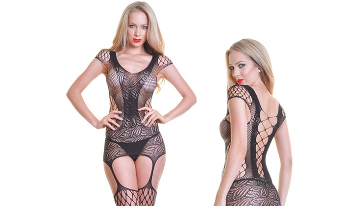 Fishnet and Lace Bodystocking   Groupon Goods