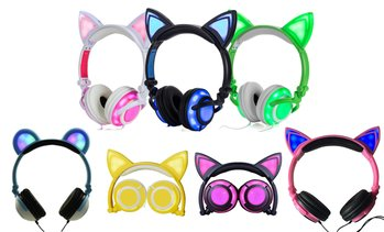 Jamsonic DJ-Style Light-Up Cat-Ear or Panda-Ear Headphones