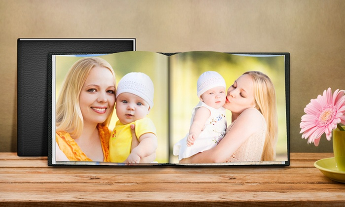 """20-Page Custom Leather Cover Photo Books from Printerpix: 20-Page Custom 8""""x6"""", 8""""x8"""", or 8.5""""x11"""" Leather Cover Photo Books from Printerpix from $8.99–$14.99"""