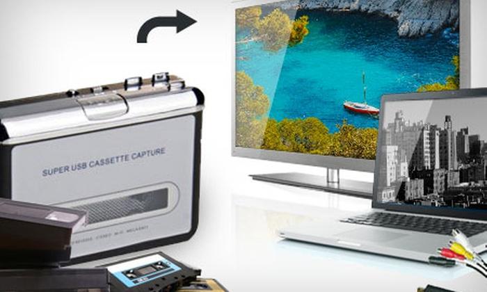 Groupon Goods Global GmbH: Convertisseur enregistreur VHS et/ou K7 dès 19,99€ (Livraison offerte), Jusqu'à 42% de réduction