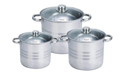 Set de 3 ollas de acero inoxidable con tapas de cristal Royalty Line