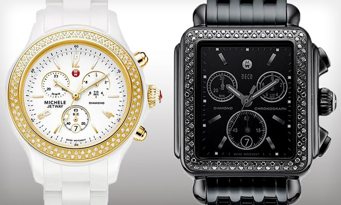 Michele Women's Watches with Diamond Accents. Multiple Styles Available. Free Shipping and Returns