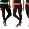 Women's Active Pants With Neon Fold Over Waist Band