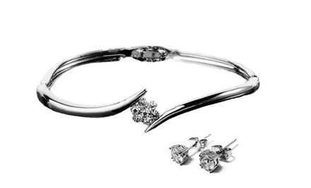 Swarovski Elements Flower Bangle and Studs Set