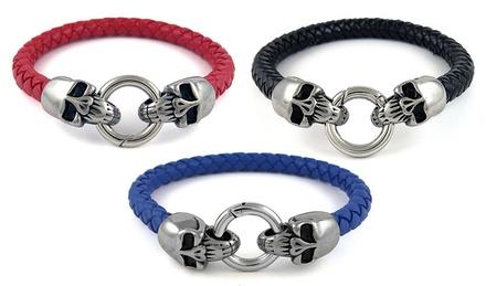 Men's Genuine Braided Leather and Stainless Steel Skull Bracelets
