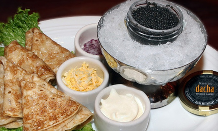 Dacha - West Village,Little Italy,Soho: $99 for a Caviar Tasting with Drinks for Two at Dacha (Up to $255 Value)