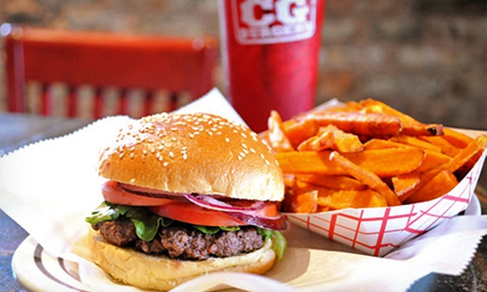CG Burgers - Multiple Locations: $15 for Five $6 Vouchers for Burgers and All-American Classics at CG Burgers ($30 Value)