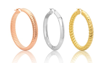Thick Ribbed or Rope Hoop Earrings. Multiple Options Available From $17.99–$19.99
