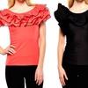 Gracia Women's Ruffle-Neck Blouses