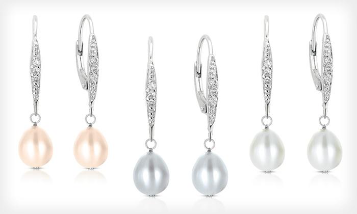 Dangling Pearl Earrings: $21.99 for Dangling Pearl Earrings in Grey, Pink, or White ($150 List Price)