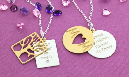 Inspirational Quote Family Tree or Mom Necklace with Optional Customized Text from Monogram Online from $24.99–$29.99