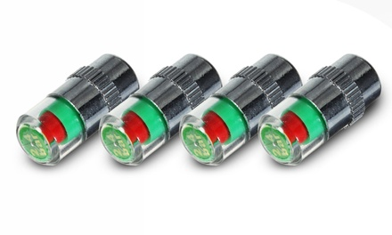 Four, Eight or Twelve 36 PSI Tyre Pressure Valve Caps with LED Indicators