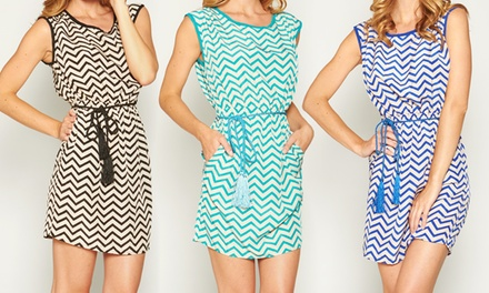 Junior Chevron Dress With Tassel Belt