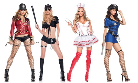 Women's Law Enforcement, Firefighter, and Nurse Halloween Costumes from $29.99–$39.99. Standard and Plus Sizing.