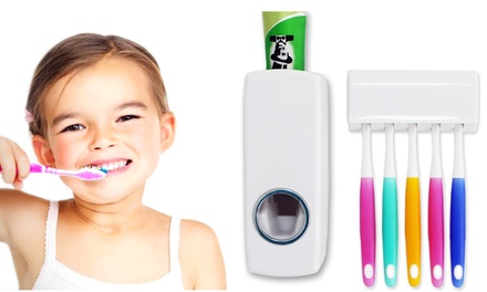 Toothpaste Dispenser with Toothbrush Holder