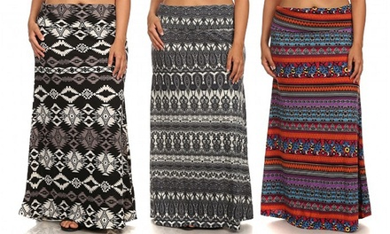 Women's Plus Size Printed Maxi Skirts (3-Pack)