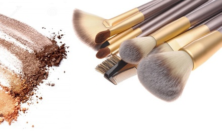 12-Piece Professional Golden Bronze Makeup Brush Set with Cream PU Leather for AED 55 (Up to 88% Off)
