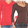 Women's V-Neck Long Sleeve Tops (6-Pack)