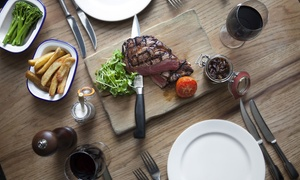 Bar Brig: Hot Stone Steak With Fries and a Glass of House Wine For Two from Bar Brig