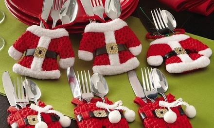 4, 8, 12 or 16 Santa Claus Cutlery Holder Socks